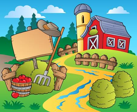 barnyard: Country scene with red barn 5 - vector illustration. Illustration