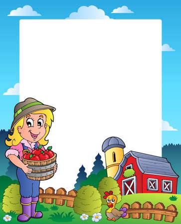 granary: Scena di paese con fienile rosso 6 - illustrazione vettoriale.