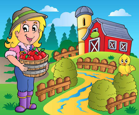 farm structures: Country scene with red barn 7 - vector illustration.