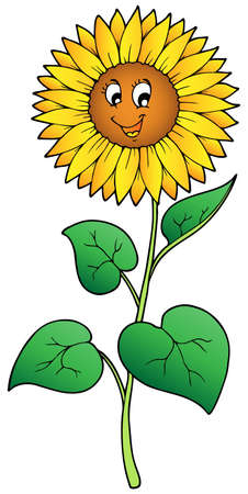 Tournesol mignons cartoon - illustration vectorielle.