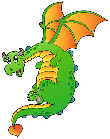 Flying fairy tale dragon - vector illustration. Stock Vector - 9674322
