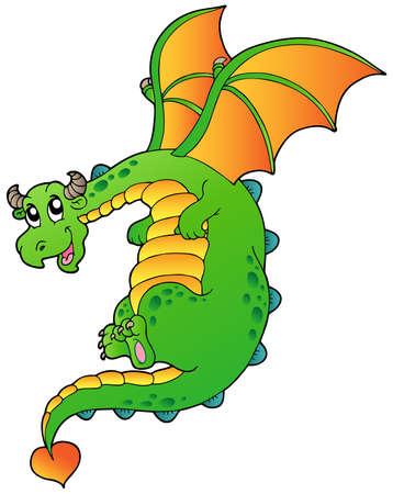 wyvern: Flying fairy tale dragon - vector illustration.