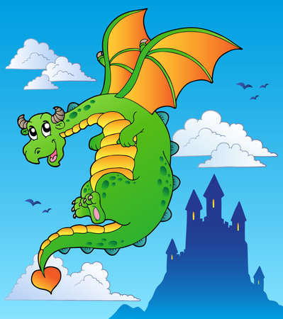 Flying fairy tale dragon near castle - vector illustration. Vector