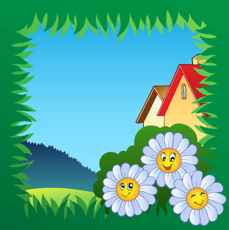 Grass frame with flowers 1 - vector illustration. Vector