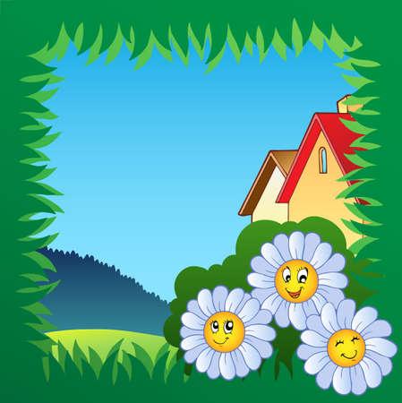Cadre de l'herbe avec des fleurs 1 - illustration vectorielle.
