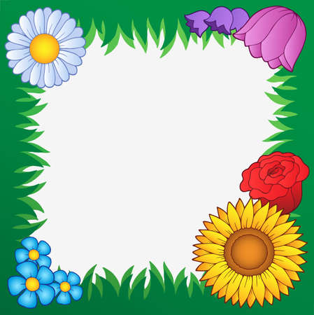 Grass frame with flowers 2 - vector illustration. Stock Vector - 9674328