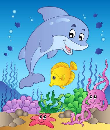 maritimo: Delf�n feliz en el mar de fondo 1 - ilustraci�n vectorial.