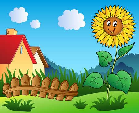 Meadow with cartoon sunflower - vector illustration. Vector