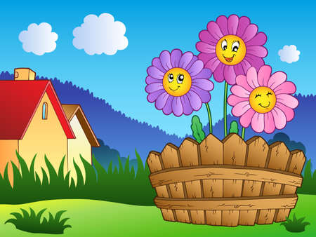 Meadow with daisies and fence - vector illustration. Stock Vector - 9674317