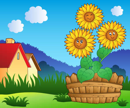 farmhouses: Meadow with three cute sunflowers - vector illustration.