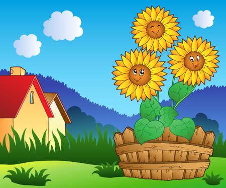 Wiese mit drei hübsch Sonnenblumen - Vektor-Illustration.
