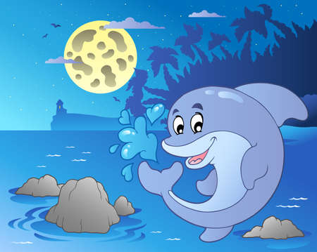 Night seascape with jumping dolphin - vector illustration. Vector