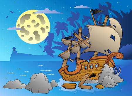 wreckage: Night seascape with shipwreck - vector illustration.