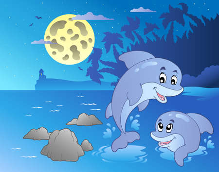 moon fish: Night seascape with happy dolphins - vector illustration. Illustration