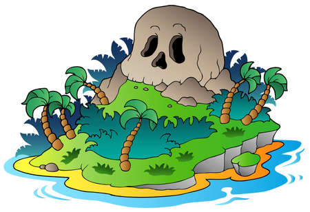 a cave: Pirate skull island - vector illustration. Illustration