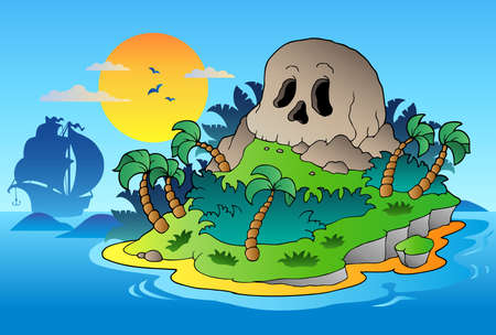hideout: Pirate skull island with ship - vector illustration. Illustration