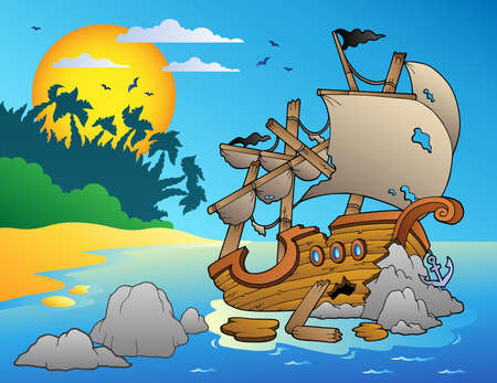 Seascape with shipwreck and rocks - vector illustration. Vector