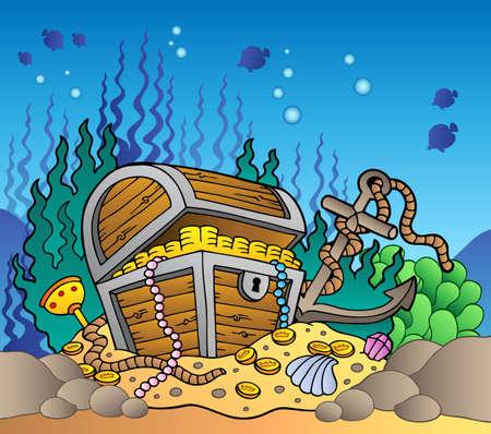 undersea: Fond de mer avec coffre aux tr�sors des vieux - illustration vectorielle.