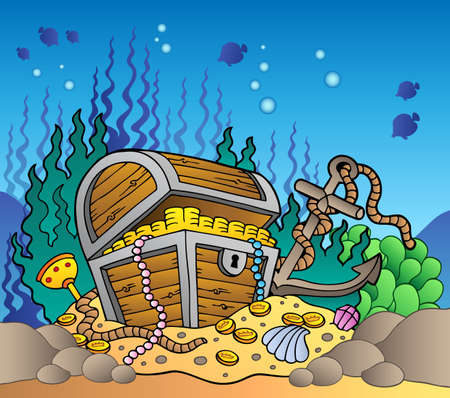 corsair: Sea bottom with old treasure chest - vector illustration.