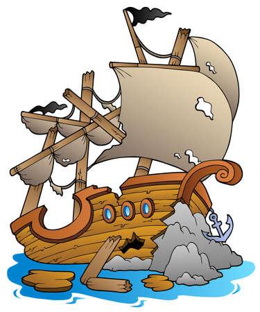 vecchia nave: Naufragio con rocce - illustrazione vettoriale.