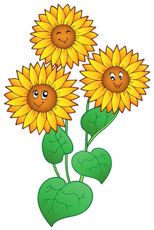 three leaves: Three cute sunflowers - vector illustration.