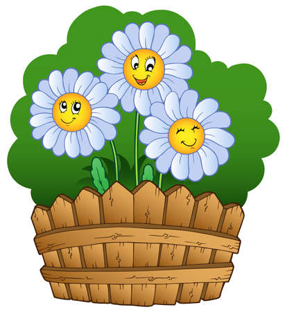 pasture fence: Three daisies with fence - vector illustration.