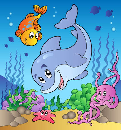 aquatic: Various cute animals at sea bottom - vector illustration. Illustration