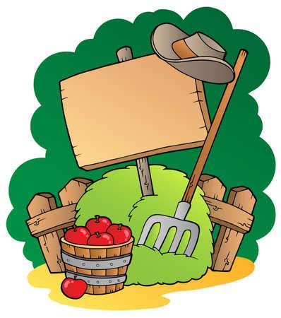 farmyard: Wooden country board - vector illustration.