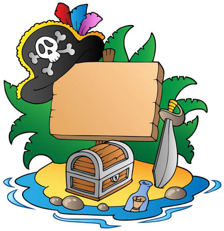 island clipart: Board on pirate island