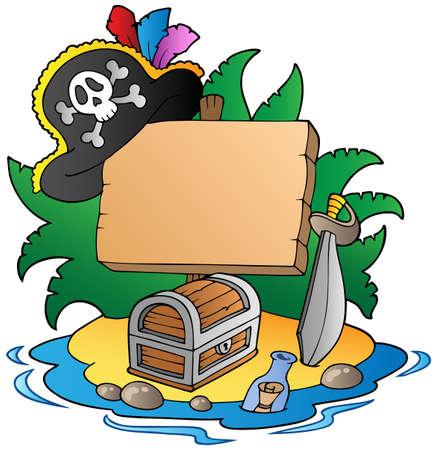 cofre tesoro: Junta en isla pirata Vectores