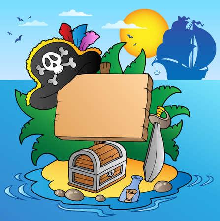 isla del tesoro: Junta en isla pirata con barco Vectores