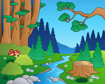 river stones: Cartoon forest landscape