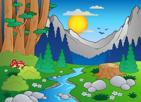 sol caricatura: Paisaje de bosques de dibujos animados