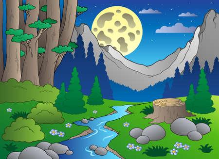 cartoon for�t: Paysage forestier de dessin anim�