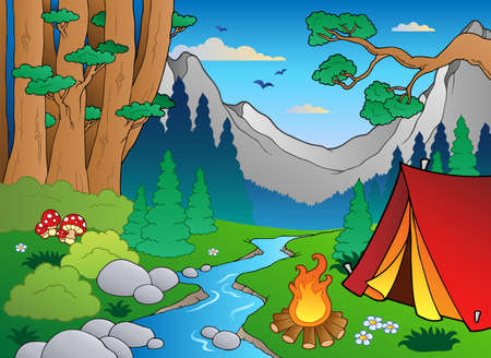 camping: Cartoon forest landscape