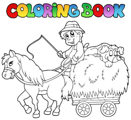 Coloring book with cart and farmer Stock Vector - 9864288