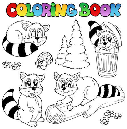 Coloring book with cute racoons Stock Vector - 9864293
