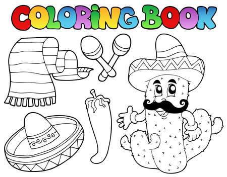 Coloring book with Mexican theme Vector