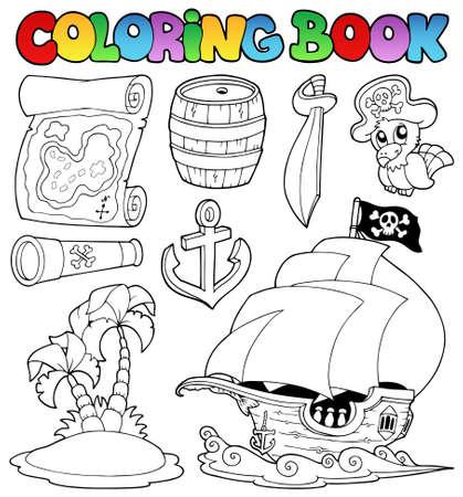 pirata: Libro para colorear con objetos de pirata Vectores
