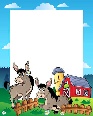 barnyard: Country frame with red barn
