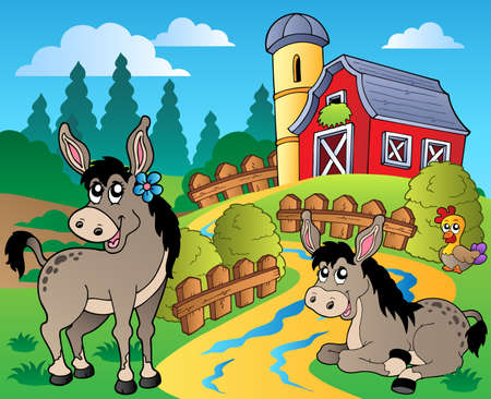 farmhouses: Country scene with red barn Illustration
