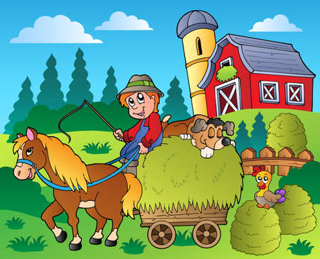 farmhouse: Country scene with red barn Illustration