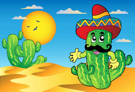 Desert scene with Mexican cactus Vector