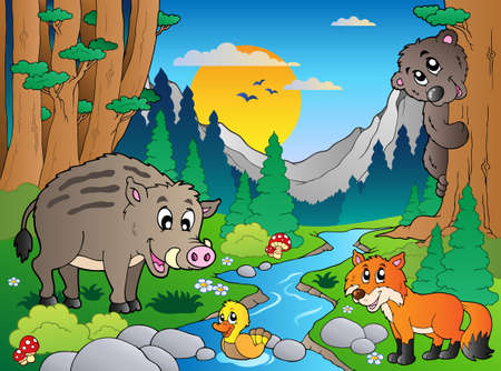 cartoon summer: Forest scene with various animals