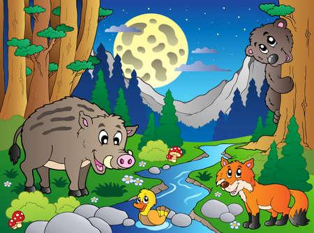 Escena de bosque con varios animales