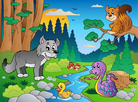 bach: Wald Szene mit verschiedenen Tieren Illustration