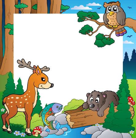 cartoon for�t: Cadre avec le th�me de la for�t Illustration