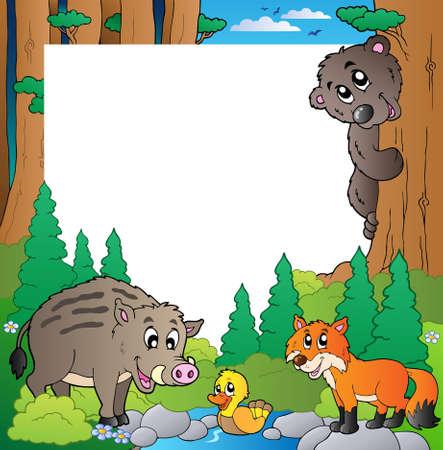 wildschwein: Rahmen mit Wald-Thema