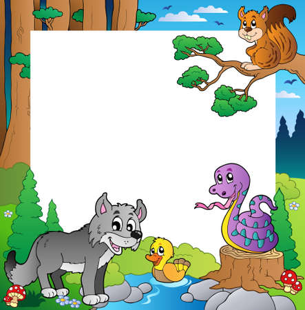theme park: Frame with forest theme