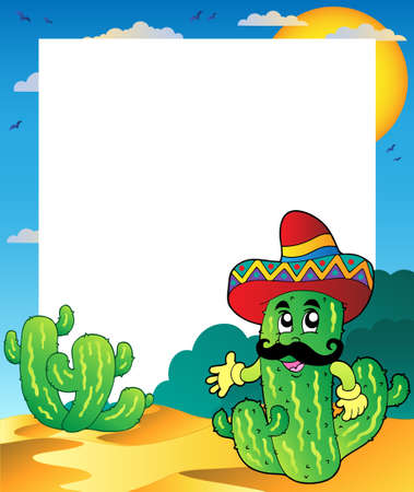 mexican hat: Frame with Mexican cactus